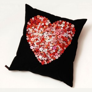 Pink Red Button Heart Cushion