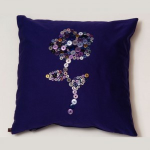 Purple Rain Button Cushion