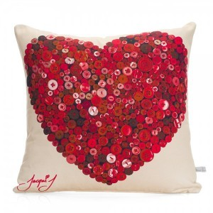 Button Heart Print Cushion – Soft Cream