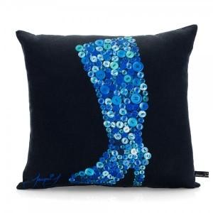 Button Stiletto Print Boot Cushion – Black