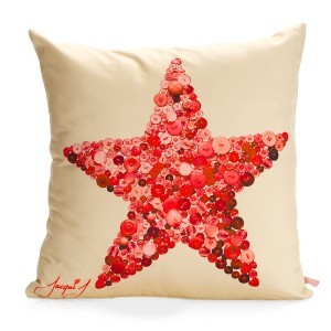 FIVE POINT STAR Button Print Cushion – Cream