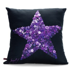 FIVE POINT STAR Button Print Cushion – Black