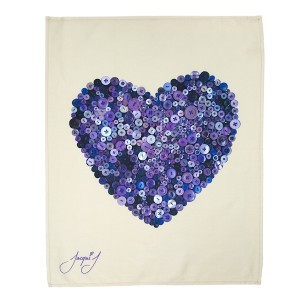 Button Heart Tea Towel Purple