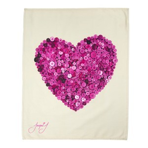 Button Heart Tea Towel Pink