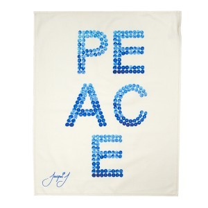 PEACE Button Tea Towel