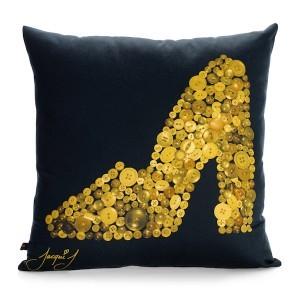 Mary Jane Shoe Button Print Cushion – Black