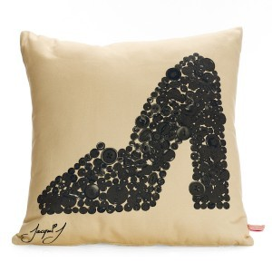 Mary Jane Shoe Button Print Cushion – Soft Cream
