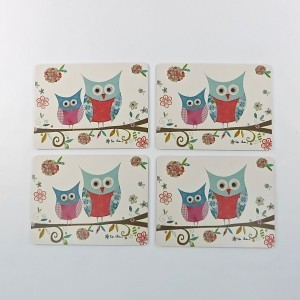 Happy Owls Set of 4 Placemats