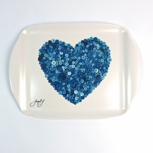 Button Heart Medium Serving Tray – Blue