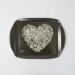 Button Heart Medium Serving Tray – White/Black