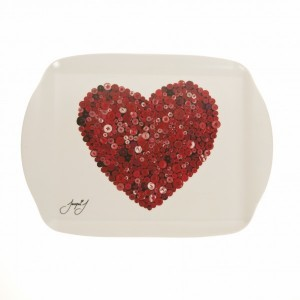 Button Heart Medium Serving Tray – Red